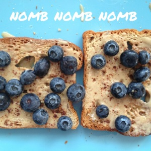 Gluten-free toast with tahini, blueberries and cinnamon