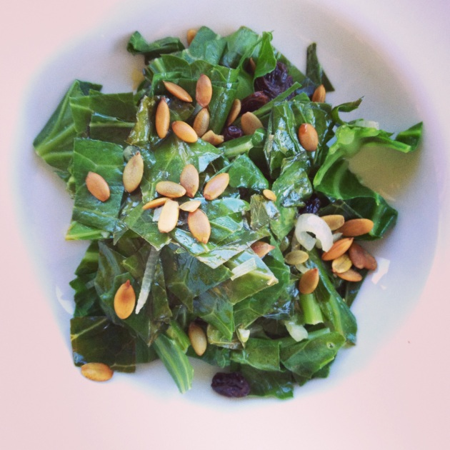 My first meal after cleansing. Sauted greens with coconut oil, lightly steamed with raisins, topped with pumpkin seeds. SO GOOD!